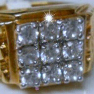 Jewelry - Round CZ Gold Plated Men's Ring